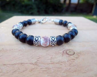 Men's Stone Beaded Bracelet, Classy Earthy Accessories, Gift for Guys, Trendy Jewelry for Him, Black and Silver Stylish Modern Trendsetter