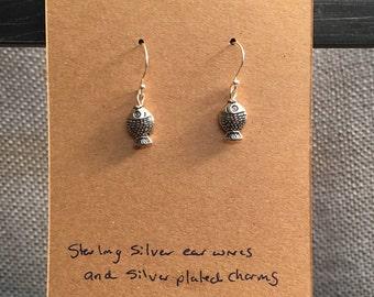 Fish Earrings with Sterling Silver Earwire