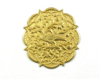 4 BIRD mandala jewelry embellishment brass  . 36mm x 40mm (T13).