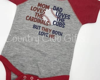 House Divided, Cardinals, Cubs t shirt, baseball shirt. bodysuit shirt, baby gift, sports rivals, team
