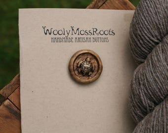 Wooden Turtle Button- Oregon Myrtlewood- Wooden Buttons- Eco Craft Supplies, Eco Knitting Supplies, Eco Sewing Supplies