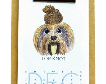 2018 Dog Desk Calendar 12 Months of Dog Hairdos - Clipboard Wall Calendar - Watercolor Dog Calendar - Pet Gift - Dog Holiday Gift