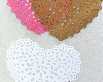 Paper heart doily  - set of 10