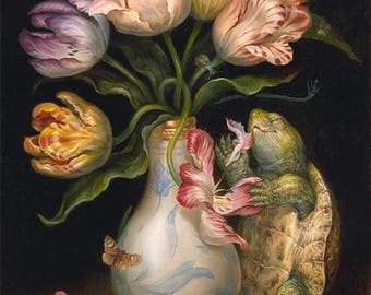 Tulips with Turtle (print) flowers, vase, snack time, artwork, garden, illustration
