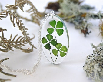 Four Leaf Clover necklace. Forest jewellery. Nature inspired.  Large Botanical necklace. Large Resin necklace. Gift for her. By OCEAN PETALS