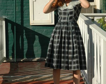 1950s Dress / 50s Dress/ Black and White Dress/ Mid Century Dress/ Day Dress / Pixie California Dress / Astral Boutique