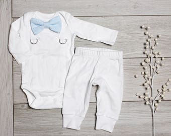 Baby Boy Baptism Outfit with Bow Tie and Suspenders.  White Grey Gray Blue. White Pants. Christening. Blessing Clothes. Infant Newborn