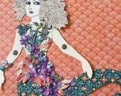 Mermaid Paper Doll 140 - Moonlit Blooms