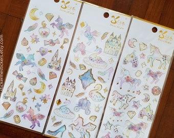 GE series, Unicorn sticker, Glitter Epoxy sticker, Castle sticker, Diamond sticker, Princess sticker, Horse sticker, Shooting Star, Shan Le