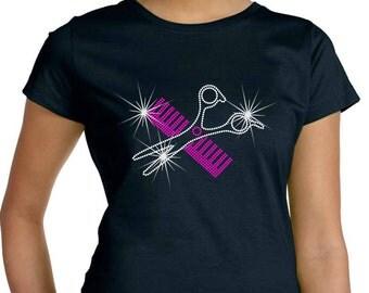 Rhinestone TShirt Comb And Scissors Premium LAT Brand Tee Ringspun Cotton Short Sleeve Crew Neck Or V Neck