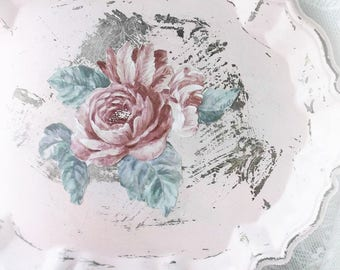 Vintage Shabby  Chic Cottage  Decor. Shabby Distressed Floral Tray. Vanity Tray, Serving Tray. Pastel pink - Mauve Pink Roses