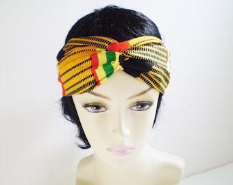 Yellow Kente Turban Headband, Yellow Kente Twist Headband, Yellow Green Red Kente Headband, Yellow Kente Turban, African Twist Headband