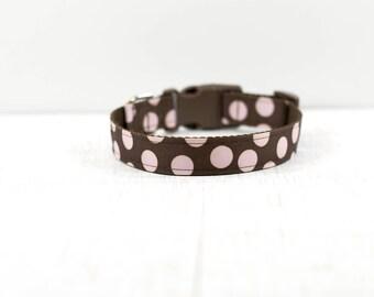 """Pink Polka Dot Dog Collar, Polka Dot Collar, Girly Dog Collar, Buckle Dog Collar, Medium Dog Collar 12-19"""", Sale"""