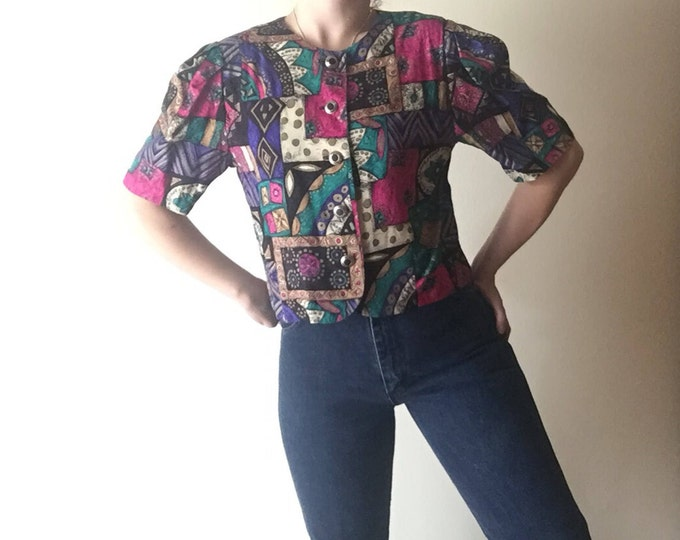 Baroque Crop Top | 90s vintage O neckline short puff sleeve button up office wear era womens 80s new wave shirt small S medium M purple gold