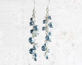 Steel Blue Pearl Cluster Dangle Earrings on Silver Plated Hooks