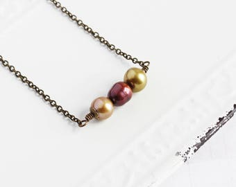 Autumn Colors Freshwater Pearl Bead Bar Necklace on Antiqued Brass Chain