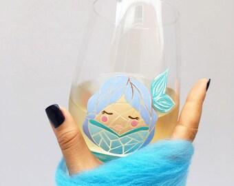 Mermaid Mosaic Hand Painted Wine Glass