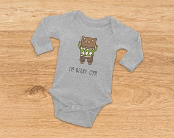 Going Home Outfit, Bear Onesie, Newborn Baby Gift, Baby Shower Gift, Baby Girl Onesie, Baby Boy Onesie, Xmas Gift for Baby, Hipster Onesie