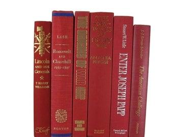Red Books for Decor, Farmhouse Decor, Vintage  Books,  Gift, Book Lover, Photo Props , Wedding Table Setting , Vintage Wedding Decor,