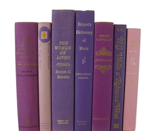 Purple Pink  Decorative Book,  Vintage Books,   Photo Prop , Bookshelf Decor  , Home Decor , Old Book Decor , Gift for Her