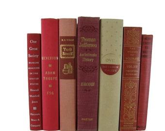 Red  Shades Farmhouse Decor, Book Decor, Vintage Books,  Gift,  Books Lover,  Book Home Decor,  Wedding Decor, Used Books,Decorative Books,