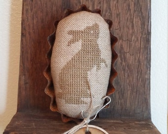"Primitive cross stitch ""B"" is for standing bunny mini pinkeep folk art handmade"