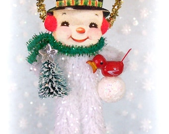 Snowman Vintage Christmas Chenille Ornament Feather Tree