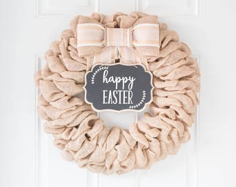 Easter Wreath for Front Door, Happy Easter Sign, Pink Decor, Farmhouse Home Decor