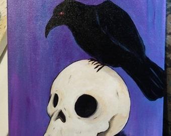 Raven & Skull 9 x 12 Acrylic Painting Canvas New Orleans NOLA Inspired Art Poe Crow Corvid Bird Goth Skeleton