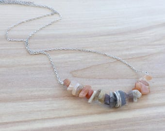 Moonstone Gemstone Necklace, Peach Moonstone Raw Stone Necklace, Sterling Silver Natural Stone Necklace, Moonstone Cluster Necklace