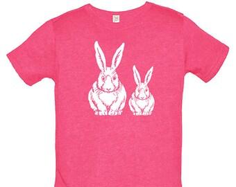 Bunny Kids TShirt - Rabbit Shirt - Spring Bunnies - Tee Shirt Top - Kids Tshirt - PolyCotton Blended Tee - Boys or Girls Rabbig Shirt