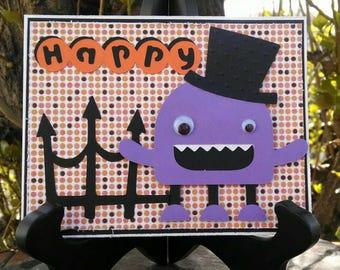 Happy Halloween Purple Monster Card