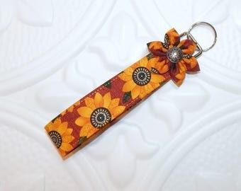 Key Fob - Key Fob Keychain - Key Chain - Key Fob Wristlet - Wristlet Lanyard -  Key Holder - Sunflower Keychain