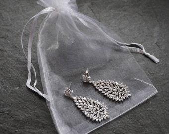 Bridesmaid earrings, bridal earrings, bridesmaid crystal earrings, large bridal earrings, bridemaid jewellery, bridesmaid dangly earrings,