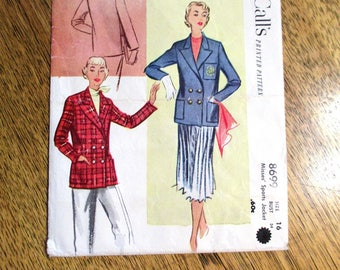 "PREPPY 1950s Collegiate Jacket / Blazer / Misses' Sports Jacket - Size 16 (Bust 34"") - VINTAGE Sewing Pattern McCalls 8699"