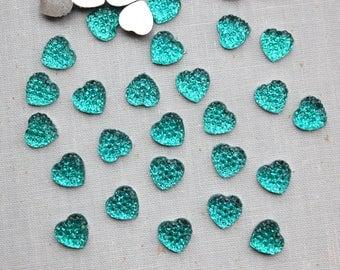 10mm Teal Resin Rhinestone Heart Cabochons