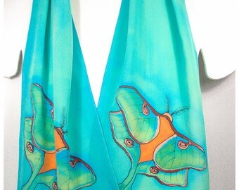 """Luna Moth Silk Scarf. 11x57"""". Hand Painted Silk Scarf. Silk Scarf Handpainted. Painted silk scarf. Luna Moth Scarf. Handpainted silk scarves"""