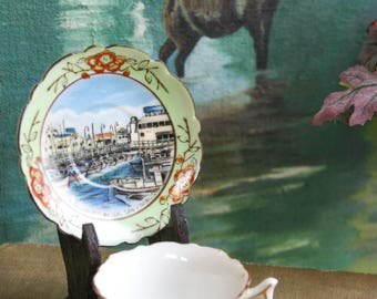 Vintage, Fisherman's Wharf, San Fransico, Tourist Souvenir, Acra China, Made in Japan, Petite Childrens Tea Cup, Saucer and Wood Stand