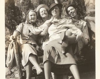 """Vintage Snapshot """"Playing To The Gallery"""" Young Women Having Fun 1940's Fashion Style Found Vernacular Photo"""