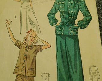 """Vintage 30's Simplicity Pajama's -Sewing Pattern #3156 -Women's Blouse and Pants   Bust 34"""""""