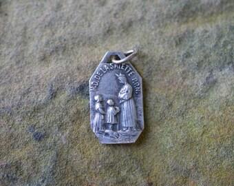 Antique Patron Saint Medal, Notre Dame De La Salette, Catholic Jewelry, Vintage Religious Supplies