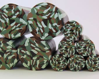 Unbaked  polymer clay cane, Army camo, Camouflage  polymer clay cane, Jungle green, Camouflage, Military, Veteran, US Navy, #Ac32