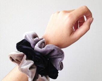 velvet hair holder, velvet scrunchie pack, ponytail holder, scrunchies set, big scrunchies, black velvet scrunchie, silver scrunchie, taupe