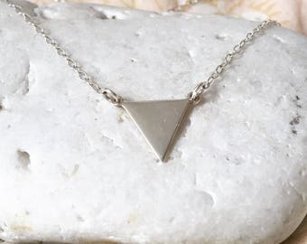 Silver Triangle Necklace - Solid Sterling Silver 925 Simple Modern Minimalist Geometric Pendant Charm