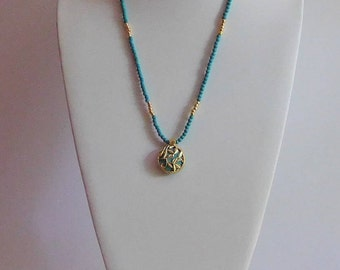 TURQUOISE and GOLD Beaded Necklace Set
