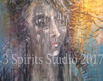 """Original Abstract Painting - """"She Reminds Rain to fall and birds to Fly"""""""