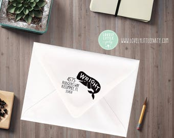 Whale return address stamp, Self-inking or wood stamp, Moose Theme Large Custom Address Stamp, Moose Gift style 1004 - Lovely Little Party