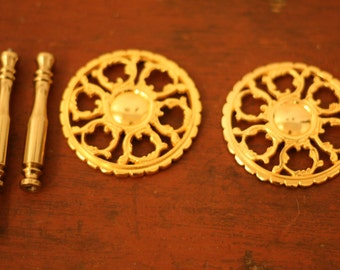 Brass curtain tie backs — set of two
