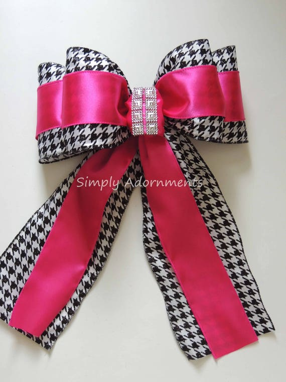 Pink Houndstooth Wreath Bow Pink Houndstooth Birthday Party Decor Pink Zebra Baby Shower Decor Safari Leopard zebra Party Decor Package Bow