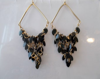 Gold Tone Chandelier Chain Earrings with Black Teardrop Dangles